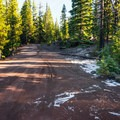 The road is navigable by normal passenger car, but is a bit rough in spots.- Lava Camp Lake Campground