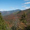 Looking west from near the summit.- Indian Head + Fishhawk Cliffs