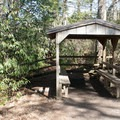 Shelters offer a place to relax throughout the hike.- Linville Falls Hike