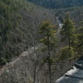 Views downstream into the wild Linville Gorge.- Linville Falls Hike