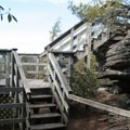 The stairway to the overlook.- Linville Falls Hike