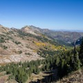 View of Big Cottonwood Canyon from the ridge.  - Mount Superior + Monte Cristo Hike