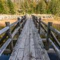 The bridge across the narrow south end of Brohm Lake.- Brohm Lake Interpretive Forest Hike