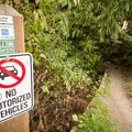 Sign at the trailhead.- Whistler Train Wreck Hike