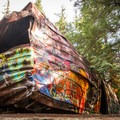Artwork at the Whistler Train Wreck.- Whistler Train Wreck Hike