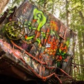 A mangled train car becomes an artist's canvas.- Whistler Train Wreck Hike