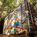 The train cars seem out of place in a beautiful forest.- Whistler Train Wreck Hike