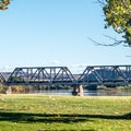 A railroad bridge visible just downstream from Green River State Park Campground.- Green River State Park Campground