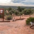 The trailhead on the east end of the campground leads to a huge mountain bike area.- Horsethief Campground