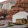 Two yurts are available to rent.- Goblin Valley Campground