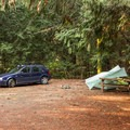 Free off-season campsites with no utilities.- Porpoise Bay Provincial Park Campground