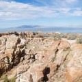 Northern view of the Great Salt Lake.- Antelope Island State Park