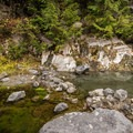 The first hot pool you come across is not very impressive.- Keyhole Hot Springs / Pebble Creek Hot Springs