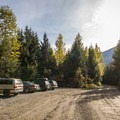 Looking back down the road at the parking area.- Keyhole Hot Springs / Pebble Creek Hot Springs