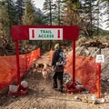 The first part of the trail passes through an area that was under construction in fall 2015.- Keyhole Hot Springs / Pebble Creek Hot Springs
