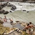 Getting ready for a soak at Keyhole Hot Springs.- Keyhole Hot Springs / Pebble Creek Hot Springs