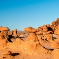 The goblins are a short hike away from the campground.- Goblin Valley Campground