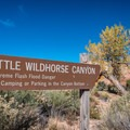 The Little Wildhorse Canyon entrance sign presents fair warning regarding flash flood danger.- Little Wildhorse Canyon Hike