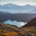 The western edge of Garibaldi Lake and the Tantalus Range from Panorama Ridge.- Panorama Ridge Hike