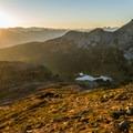 Watching the sun set behind Black Tusk from Panorama Ridge.- Panorama Ridge Hike