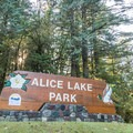 Sign at the entrance of Alice Lake Provincial Park.- Alice Lake Campground