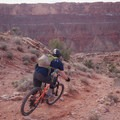 Hanging a right at the second trail junction to stay on Bar B.- MOAB Brand Mountain Bike Trails: Bar B