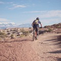 The La Sal Mountains hang out in the background.- MOAB Brand Mountain Bike Trails: Bar M