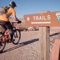 Climbing past the Circle O Trailhead.- MOAB Brand Mountain Bike Trails: Circle O