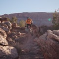 Diving through the rocks on the Circle O Trail.- MOAB Brand Mountain Bike Trails: Circle O