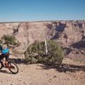 Cutting onto the singletrack on the Good Water Rim Trail.- Good Water Rim Mountain Bike Trail