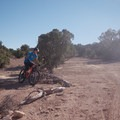 Taking the early bail-out to shorten the loop.- Good Water Rim Mountain Bike Trail