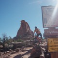 Trailmarker at top of the trail.- Amasa Back Mountain Bike Trails: Hymasa
