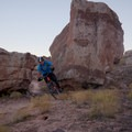 Weaving through rocks on the Jurassic Trail..- Klondike Bluffs Mountain Bike Trails: Jurassic to Dino Flow