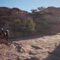 First Slickrock practice loop junction.- Slickrock Mountain Bike Trail