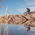 Past the reflecting pool on the Slickrock Trail.- Slickrock Mountain Bike Trail