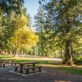 One of the picnic areas on the north side of Alice Lake.- Four Lakes Trail Hike