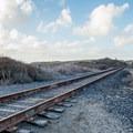 You have to cross this railroad to access Bonny Doon Beach.- Bonny Doon Beach