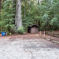Parking and vault toilets for Wastahi Campground.- Wastahi Campground