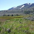 Snow lingers in the high mountains even in summer.- Hart Mountain National Antelope Refuge