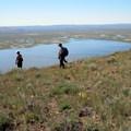 Hiking to Petroglyph Lake.- Hart Mountain National Antelope Refuge