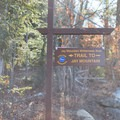 The trail sign at the start of the hike.- Jay Mountain Hike