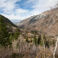 View of Little Cottonwood Canyon from the overlook. - Maybird Lakes Hike