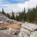 View of Broad's Fork Twin Peaks from upper Maybird Lake.  - Maybird Lakes Hike