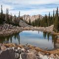 Twin Peaks and lower Maybird Lake.  - Maybird Lakes Hike
