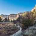Beyond the narrows, the canyon widens and deepens.- Lick Wash Hike