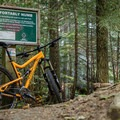 Sign at the entrance of Comfortably Numb.- North Whistler Mountain Bike Trails: Out There