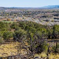 The town of Escalante seen from an overlook on the nature trail.- Escalante Petrified Forest State Park + Campground