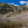 Morat Lake with Mount Agassiz. The route to Blue Lake climbs on the right side of the slope.  - Mount Agassiz Hike