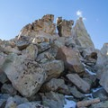 A cleft quartzite boulder on the ridge.  - Mount Agassiz Hike