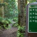The Cheakamus Lake Trail and Helm Creek Trail junction.- Helm Creek to Rubble Creek Hike